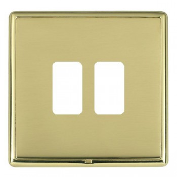 Hamilton Linea-Rondo CFX Polished Brass/Polished Brass 2 Gang Grid Fix Aperture Plate with Grid