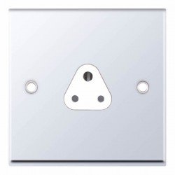 Selectric 7M Polished Chrome 1 Gang 2A Round Pin Socket with White Insert
