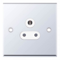 Selectric 7M Polished Chrome 1 Gang 5A Round Pin Socket with White Insert