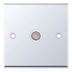 Selectric 7M Polished Chrome 1 Gang TV Socket with White Insert