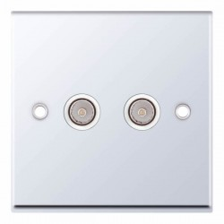 Selectric 7M Polished Chrome 2 Gang TV/FM Socket with White Insert