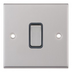 Selectric 7M-Pro Satin Chrome 1 Gang 10A 2 Way Switch with Grey Insert