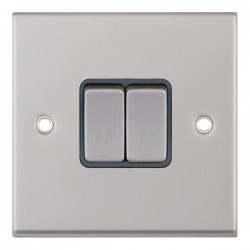 Selectric 7M-Pro Satin Chrome 2 Gang 10A 2 Way Switch with Grey Insert