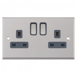 Selectric 7M-Pro Satin Chrome 2 Gang 13A DP Switched Socket with Grey Insert