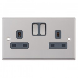 Selectric 7M-Pro Satin Chrome 2 Gang 13A Switched Socket with Grey Insert