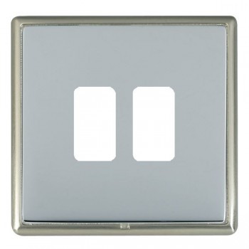 Hamilton Linea-Rondo CFX Satin Nickel/Bright Steel 2 Gang Grid Fix Aperture Plate with Grid