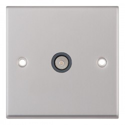Selectric 7M-Pro Satin Chrome 1 Gang TV Socket with Grey Insert