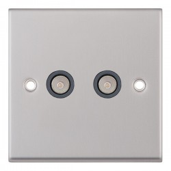 Selectric 7M-Pro Satin Chrome 2 Gang TV/FM Socket with Grey Insert