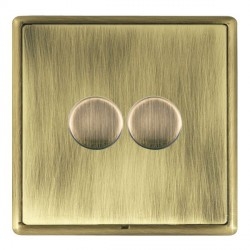 Hamilton Linea-Rondo CFX Antique Brass/Antique Brass Push On/Off Dimmer 2 Gang 2 way with Antique Brass I...