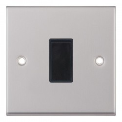 Selectric 7M Satin Chrome 1 Gang 10A 2 Way Switch with Black Insert