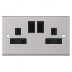 Selectric 7M Satin Chrome 2 Gang 13A DP Switched Socket with Black Insert