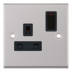 Selectric 7M Satin Chrome 1 Gang 13A DP Switched Socket with Black Insert