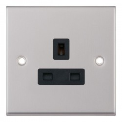 Selectric 7M Satin Chrome 1 Gang 13A Unswitched Socket with Black Insert
