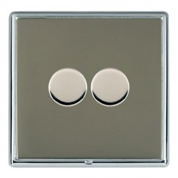 Hamilton Linea-Rondo CFX Bright Chrome/Black Nickel Push On/Off Dimmer 2 Gang 2 way with Bright Chrome In...