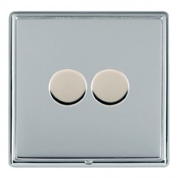 Hamilton Linea-Rondo CFX Bright Chrome/Bright Chrome Push On/Off Dimmer 2 Gang 2 way with Bright Chrome I...