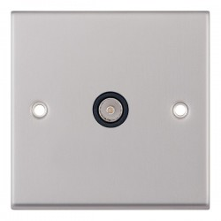 Selectric 7M Satin Chrome 1 Gang TV Socket with Black Insert