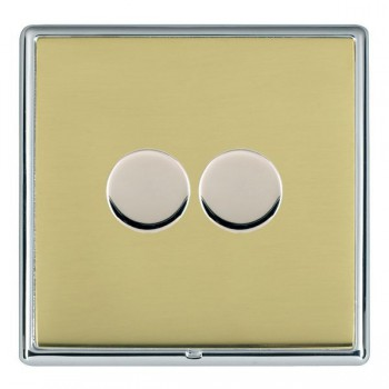 Hamilton Linea-Rondo CFX Bright Chrome/Polished Brass Push On/Off Dimmer 2 Gang 2 way with Bright Chrome Insert
