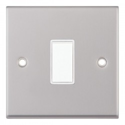 Selectric 7M Satin Chrome 1 Gang 10A 2 Way Switch with White Insert