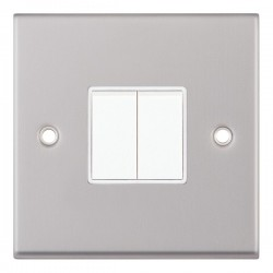 Selectric 7M Satin Chrome 2 Gang 10A 2 Way Switch with White Insert