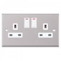 Selectric 7M Satin Chrome 2 Gang 13A DP Switched Socket with White Insert