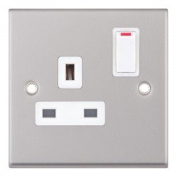 Selectric 7M Satin Chrome 1 Gang 13A DP Switched Socket with White Insert
