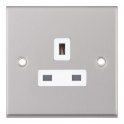 Selectric 7M Satin Chrome 1 Gang 13A Unswitched Socket with White Insert