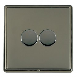 Hamilton Linea-Rondo CFX Black Nickel/Black Nickel Push On/Off Dimmer 2 Gang 2 way with Black Nickel Inse...