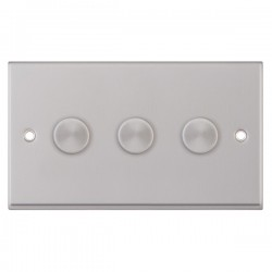 Selectric 7M Satin Chrome 3 Gang 400W 2 Way Dimmer Switch