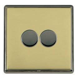 Hamilton Linea-Rondo CFX Black Nickel/Polished Brass Push On/Off Dimmer 2 Gang 2 way with Black Nickel Insert