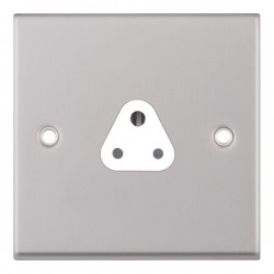 Selectric 7M Satin Chrome 1 Gang 2A Round Pin Socket with White Insert
