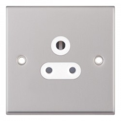 Selectric 7M Satin Chrome 1 Gang 5A Round Pin Socket with White Insert