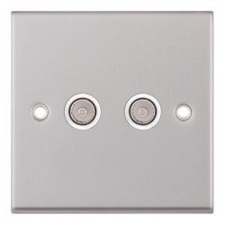 Selectric 7M Satin Chrome 2 Gang TV/FM Socket with White Insert