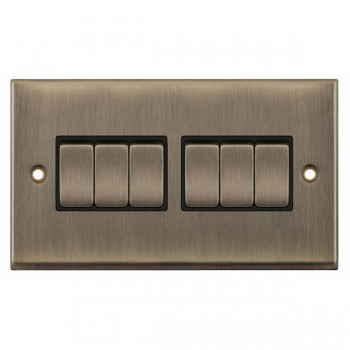 Selectric 7M-Pro Antique Brass 6 Gang 10A 2 Way Switch with Black Insert