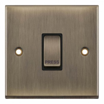 Selectric 7M-Pro Antique Brass 1 Gang 10A Push to Make Switch with Black Insert