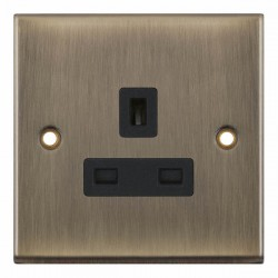 Selectric 7M-Pro Antique Brass 1 Gang 13A Unswitched Socket with Black Insert