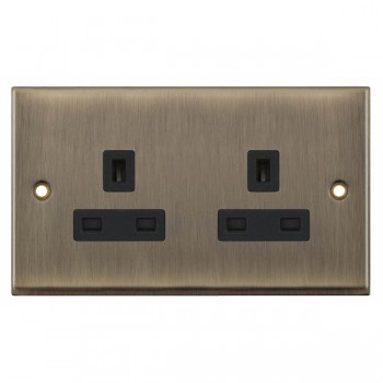 Selectric 7M-Pro Antique Brass 2 Gang 13A Unswitched Socket with Black Insert