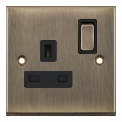 Selectric 7M-Pro Antique Brass 1 Gang 13A DP Switched Socket with Black Insert
