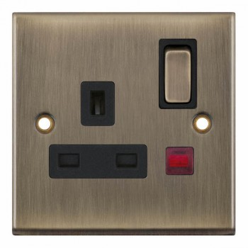 Selectric 7M-Pro Antique Brass 1 Gang 13A DP Switched Socket with Neon and Black Insert
