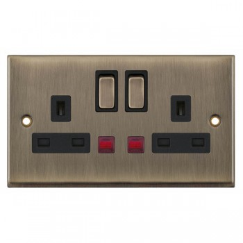 Selectric 7M-Pro Antique Brass 2 Gang 13A DP Switched Socket with Neon and Black Insert