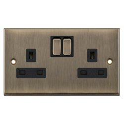 Selectric 7M-Pro Antique Brass 2 Gang 13A Switched Socket with Black Insert