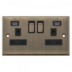 Selectric 7M-Pro Antique Brass 2 Gang 13A Switched Socket with USB Outlet and Black Insert