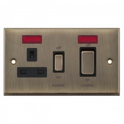 Selectric 7M-Pro Antique Brass 45A DP Switch and 13A Switched Socket with Neon and Black Insert