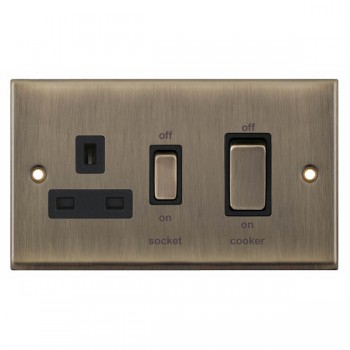 Selectric 7M-Pro Antique Brass 45A DP Switch and 13A Switched Socket with Black Insert