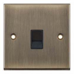 Selectric 7M-Pro Antique Brass 1 Gang RJ11 Socket with Black Insert