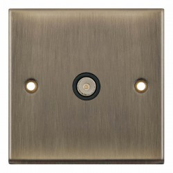 Selectric 7M-Pro Antique Brass 1 Gang TV Socket with Black Insert