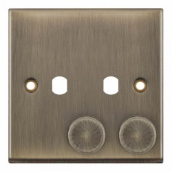Selectric 7M-Pro Antique Brass 1 Gang Twin Aperture Dimmer Plate with Matching Knobs