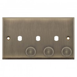 Selectric 7M-Pro Antique Brass 2 Gang Triple Aperture Dimmer Plate with Matching Knobs
