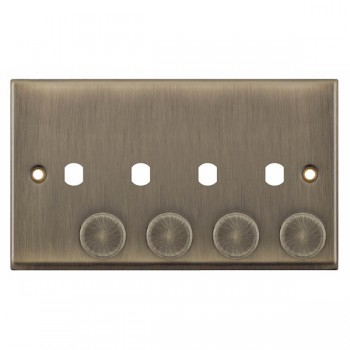 Selectric 7M-Pro Antique Brass 2 Gang Quad Aperture Dimmer Plate with Matching Knobs