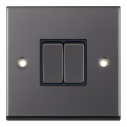 Selectric 7M-Pro Black Nickel 2 Gang 10A 2 Way Switch with Black Insert
