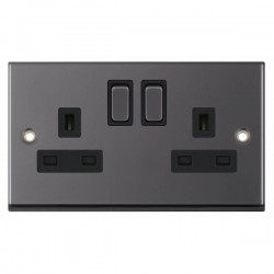 Selectric 7M-Pro Black Nickel 2 Gang 13A DP Switched Socket with Black Insert